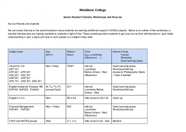 Tutorials, Workshops And Drop Ins  Memo To Parents And Students (1)