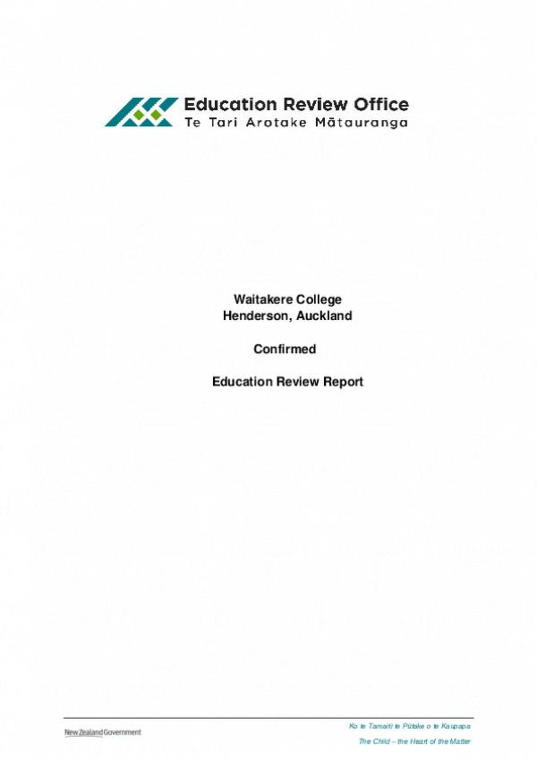 Waitakere College ERO Report 2017
